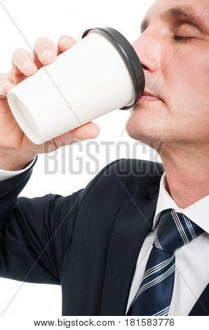 Close-up Of Senior Elegant Man Drinking Takeaway Coffee