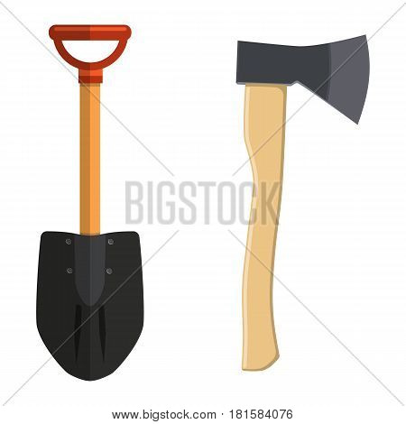 Shovel and Hatchet axe vector icon isolated on white background. Tourist dig and axe elements in flat design.