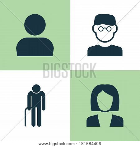 Human Icons Set. Collection Of Businesswoman, User, Grandpa Elements. Also Includes Symbols Such As Job, Old, Businesswoman.