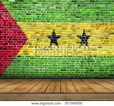 Sao Tome and Principe flag painted on brick wall with wooden floor