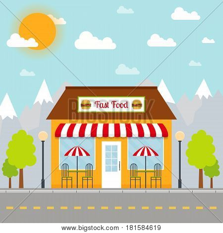 Fast food restaurant building facade or front on city background. EPS10 vector illustration in flat style.