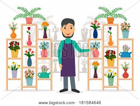 Flower shop florist or male salesperson with houseplants and potted flowers on stands. EPS10 vector illustration in flat style.