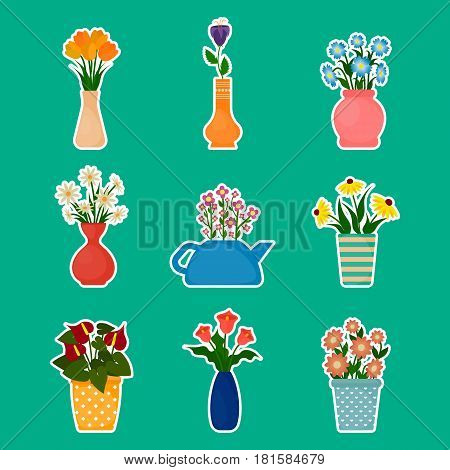 Gardening stickers houseplants and potted flowers. EPS10 vector illustration in flat style.
