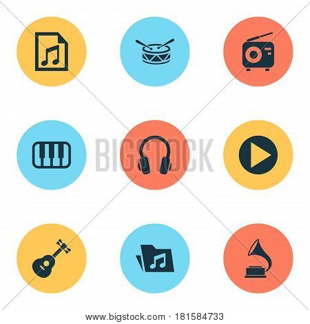 Music Icons Set. Collection Of Octave, Earphone, Barrel And Other Elements. Also Includes Symbols Such As File, Keyboard, Octave.