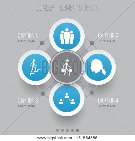 People Icons Set. Collection Of Network, Group, Ladder And Other Elements. Also Includes Symbols Such As Gentlewoman, Man, Female.