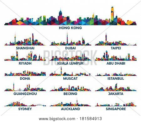 Geometric pattern skyline city Arabian Peninsula and Asia
