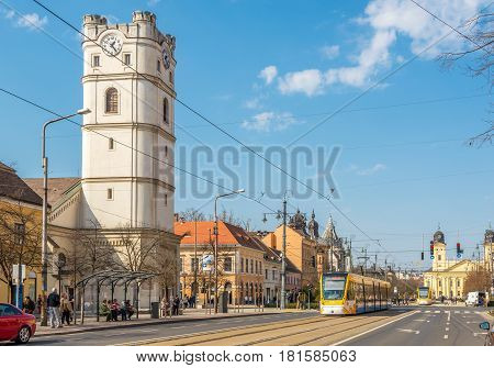 DEBRECEN, HUNGARY - MARCH 22,2017 - Truncated church in the streets of Debrecen. Debrecen is the regional centre of the Northern Great Plain region.