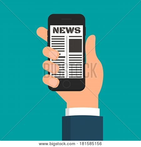 Hand holding digital electronic online newspaper on smartphone. EPS10 vector illustration in flat style.