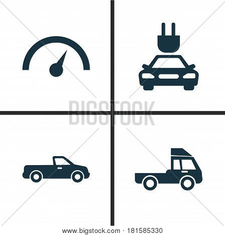 Car Icons Set. Collection Of Chronometer, Carriage, Plug And Other Elements. Also Includes Symbols Such As Chronometer, Plug, Electric.