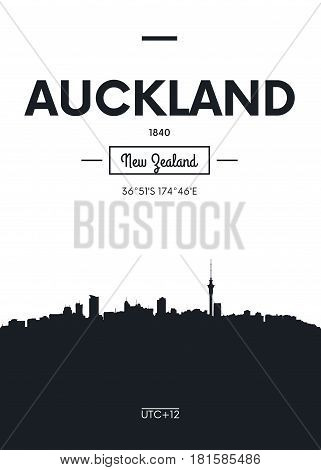 Poster city skyline Auckland, Flat style vector illustration