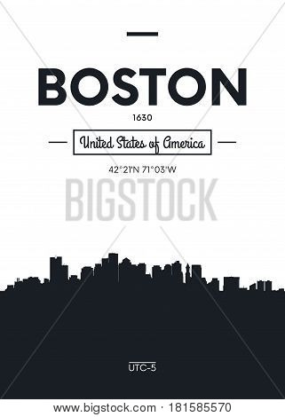 Poster city skyline Boston, Flat style vector illustration