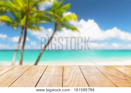 Wooden Table Top On Blue Sea And White Sand Beach