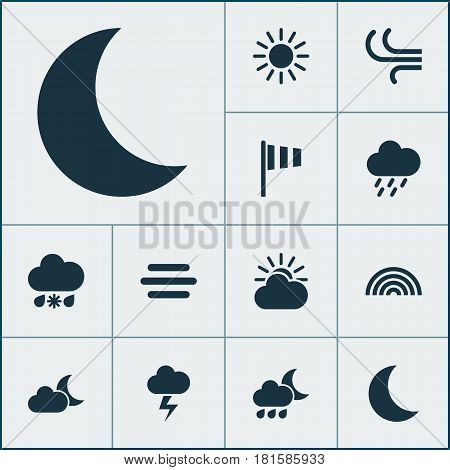 Nature Icons Set. Collection Of Sun, Breeze, Douche And Other Elements. Also Includes Symbols Such As Weather, Vane, Cold.