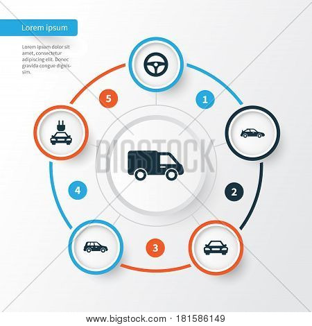 Car Icons Set. Collection Of Truck, Auto, Drive Control And Other Elements. Also Includes Symbols Such As Plug, Van, Auto.