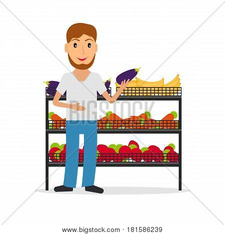 Grocery store male salesperson against vitrine with vegetables and fruit in flat style. Smiling gesturing man greengrocery seller against vitrine with food.
