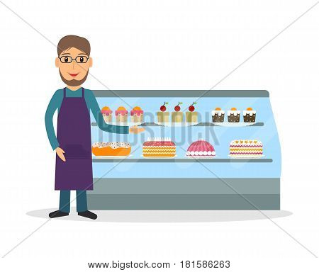 Grocery store or bakery shop male salesperson against vitrine with cakes and pastry in flat style. Smiling gesturing man bakery seller.