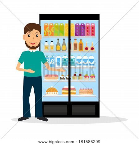Grocery store male salesperson against glass refrigerator with food in flat style. Smiling gesturing man retail store seller against vitrine with goods.
