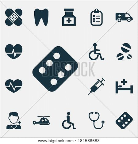 Drug Icons Set. Collection Of Device, Tent, Mark And Other Elements. Also Includes Symbols Such As Rhythm, Tent, Beating.