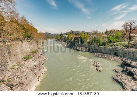 View on the river Rioni in Kutaisi, Georgia