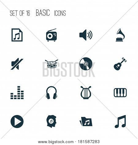 Multimedia Icons Set. Collection Of Cd, Lyre, Octave And Other Elements. Also Includes Symbols Such As Phonograph, Dossier, Button.