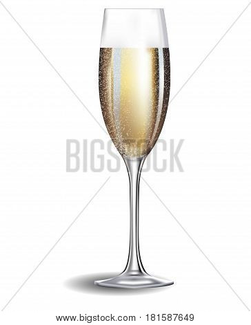 A glass of champagne isolated against a white background