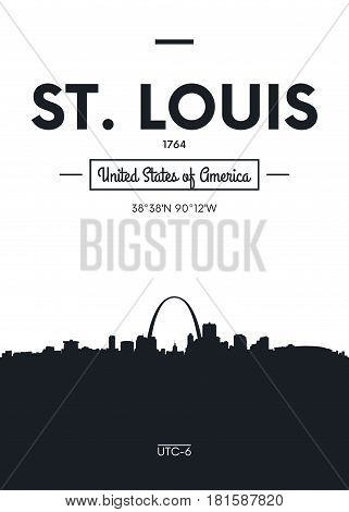 Poster city skyline St Louis, Flat style vector illustration