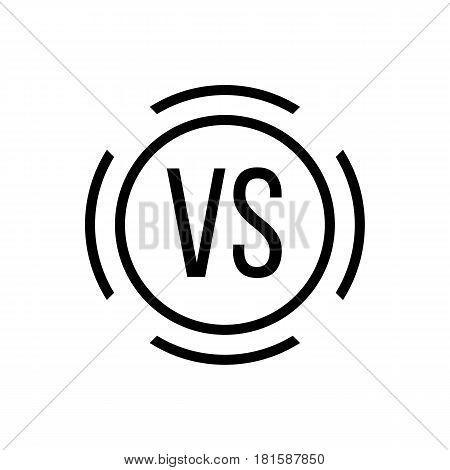 black versus sign in circle. concept of defensive, confrontation, retro mark, fighting, against. isolated on white background. flat style trend modern logotype design vector illustration