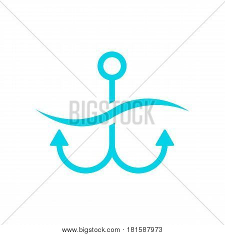 blue anchor on white background. concept of maritime, underwater, tourism, cartography, secure, offshore, anchored, mooring, dock. flat style trend modern brand design vector illustration