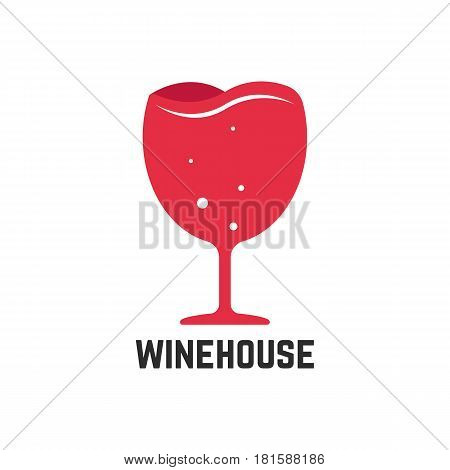 wine house logotype with red wineglass. concept of drunk, whiskey, sommelier, lounge, glassware, winemaking. isolated on white background. flat style trend modern brand design vector illustration