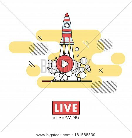 Live streaming concept. Stock vector illustration of broadcast on pause showing space shuttle launch