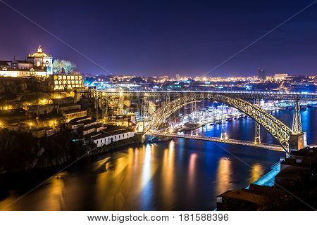 Night view with Luis I Bridge conntected Porto city with Vila Nova de Gaia Portugal