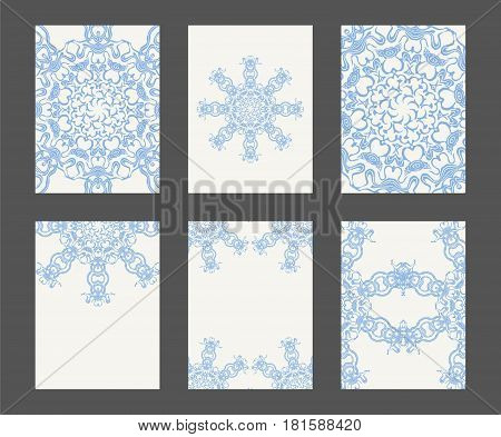Mandala card template set. Stock vector illustration for layout design with circle decorative pattern in calm romantic colors.