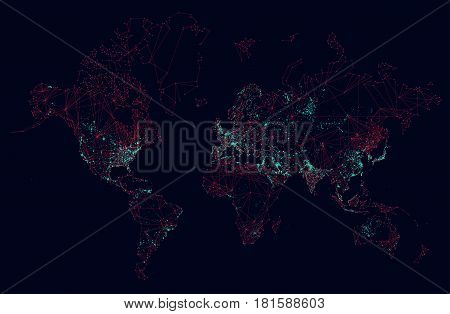 Sci-fi world map global connection futuristic interface