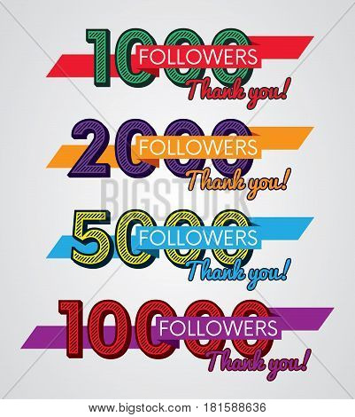 Thank you followers, Image for Social Networks, Vector illustration