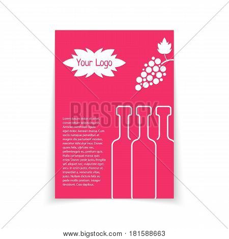 colored brochure for wine shop. concept of drunk, alcoholic, celebrate, cocktail, glassware, sommelier, postcard. isolated on white background. flat style trend modern logo design vector illustration