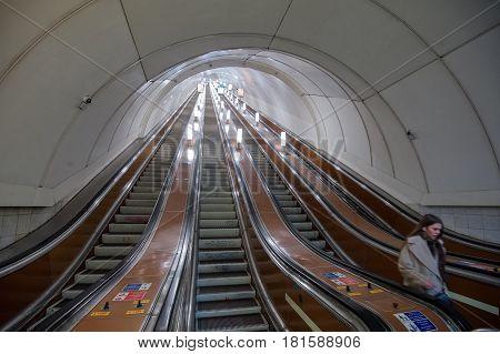 Escalator Of The St. Petersburg Subway