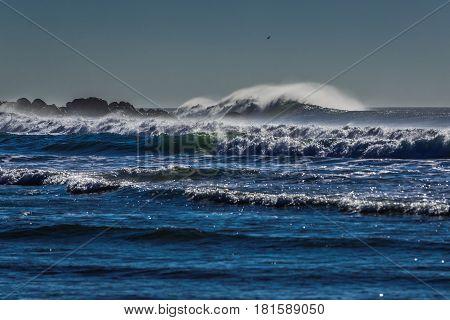Waves of Atlantic oCean seen from beach in Matosinhos city Portugal