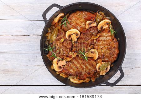 Pork Fillet Stewed With Onion, Mushrooms