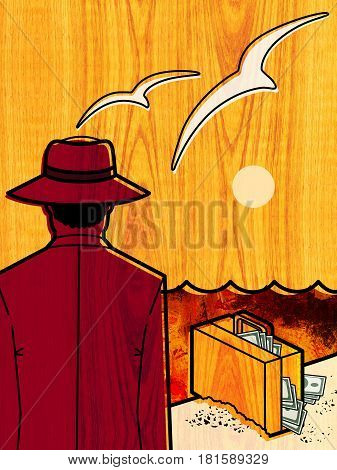 A man in a hat with his back to the viewer stands at the edge of the sea against the backdrop of the setting sun with flying seagulls. A suitcase with money is on the sand at the water's edge. On wood texture background
