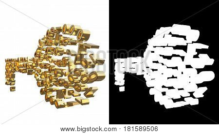 Gold numbers one and zero in the shape of a key. With alpha channel. 3D illustration