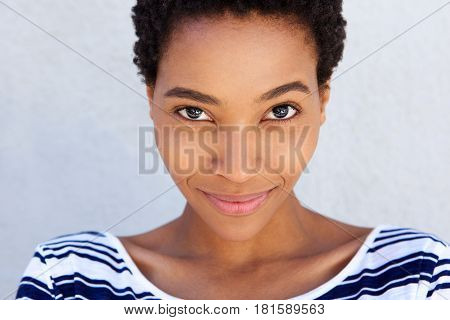 Close Up Afro American Woman Smirking