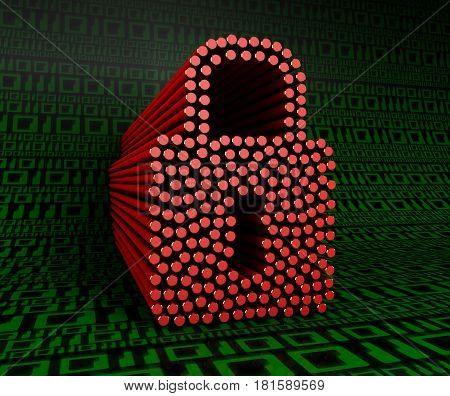 Lock on a background of green digits zero and one. 3D illustration