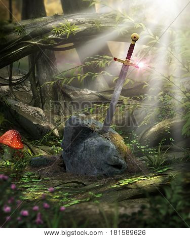 3D painting of the legendary sword Excalibur of King Arthur in the stone.
