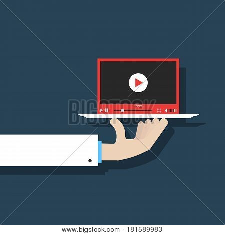 hand in white suit holding video player. concept of presentation, advertise, blogging, sharing, streaming, monetization, television, content. flat style trend modern design vector illustration