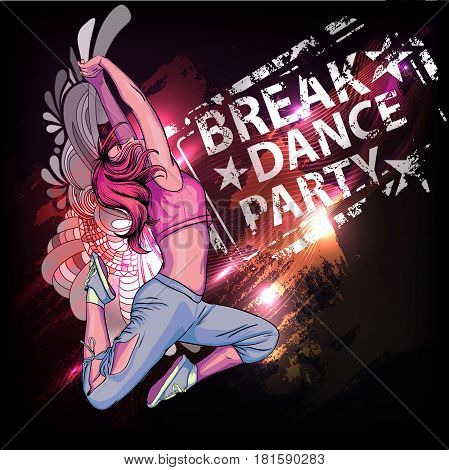 Beautiful and young girl dances.Breake dance party poster
