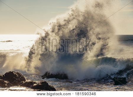 Spectacular wave crash seen from beach in Porto city Portugal