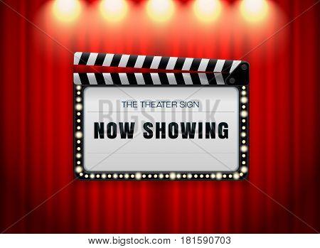 theater sign slate on curtain with spot light vector illusrtation