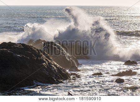 Rocks of Atlantic OCean seen from ebach in Nevogilde district Porto portugal