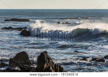Waves of Atlantic Ocean seen Porto beach Portugal