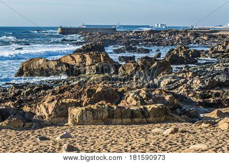 Rocky beach of Foz do Douro parish in Porto Portugal